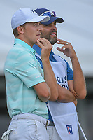 Jordan Spieth (USA) and caddie Michael Greller look over the green on 18 during round 4 of the Houston Open, Golf Club of Houston, Houston, Texas. 4/1/2018.<br /> Picture: Golffile | Ken Murray<br /> <br /> <br /> All photo usage must carry mandatory copyright credit (&copy; Golffile | Ken Murray)