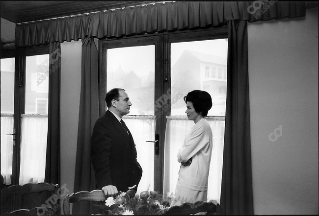 François Mitterrand with his wife Danielle in restaurant 'Le Vieux Morvan', Château-Chinon, France, December 5, 1965.