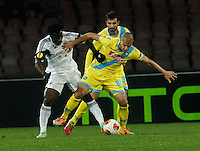 Gokhan Inler   Wilfried Bony<br /> <br />  UEFA Europa League round of 32 second  leg match, betweenAC  Napoli  and Swansea City   at San Paolo stadium in Naples, Feburary 27 , 2014