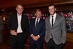 Footballers Alan Hansen, Kenny Dalglish and Gareth Bale at the gala dinner.<br /> The Celebrity Cup 2015<br /> Celtic Manor Resort<br /> <br /> 04.07.15<br /> &copy;Steve Pope - SPORTINGWALES
