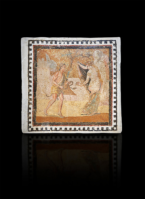 Picture of a Roman mosaics design depicting a Satyr persuing Bacchante, from the ancient Roman city of Thysdrus. End of 2nd century AD, House in Jiliani Guirat area. El Djem Archaeological Museum, El Djem, Tunisia. Against a black background