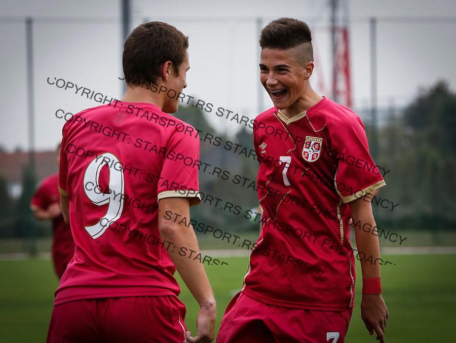 Fudbal Soccer<br /> International Friendly-Prijateljski mec<br /> Srbija U17 v Belorusiaj U17<br /> Filip Stuparevic (L) and Aleksa Jankovic<br /> Stara Pazova, 20.09.2016<br /> foto: Srdjan Stevanovic/Starsportphoto &copy;