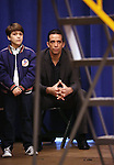 """Hudson Loverro and Nick Cordero during the open press rehearsal for """"A Bronx Tale - The New Musical""""  at the New 42nd Street Studios on October 21, 2016 in New York City."""