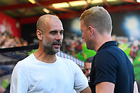Manchester City Manager Pep Guardiola left greets AFC Bournemouth Manager Eddie Howe during AFC Bournemouth vs Manchester City, Premier League Football at the Vitality Stadium on 25th August 2019