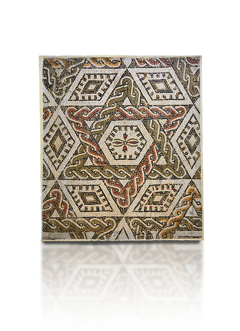 Pictures of a geometric Roman mosaics with a hexagon at its centre in the middle of which is a cruciform of flowers, from the ancient Roman city of Thysdrus, house in the M'Barek R'Haiem area. Begining of 3rd century AD. El Djem Archaeological Museum, El Djem, Tunisia. Against a white background