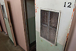 The doors to the solitary confinement cells of D block in Alcatraz prison.