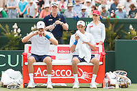 March 5, 2016: Mike and Bob Bryan of USA at a change of ends during the doubles match against Lleyton Hewitt and John Peers of Australia during the BNP Paribas Davis Cup World Group first round tie between Australia and USA at Kooyong tennis club in Melbourne, Australia. Photo Sydney Low