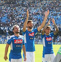 Dries Mertens of Napoli and Fernando Llorente, Giovanni Di Lorenzo  celebrate at the end of the match<br /> Napoli 29-9-2019 Stadio San Paolo <br /> Football Serie A 2019/2020 <br /> SSC Napoli - Brescia FC<br /> Photo Cesare Purini / Insidefoto