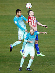 Atletico de Madrid's Gabi Fernandez (r) and FC Barcelona's Rafinha Alcantara (l) and Javier Mascherano during Spanish Kings Cup semifinal 1st leg match. February 01,2017. (ALTERPHOTOS/Acero)