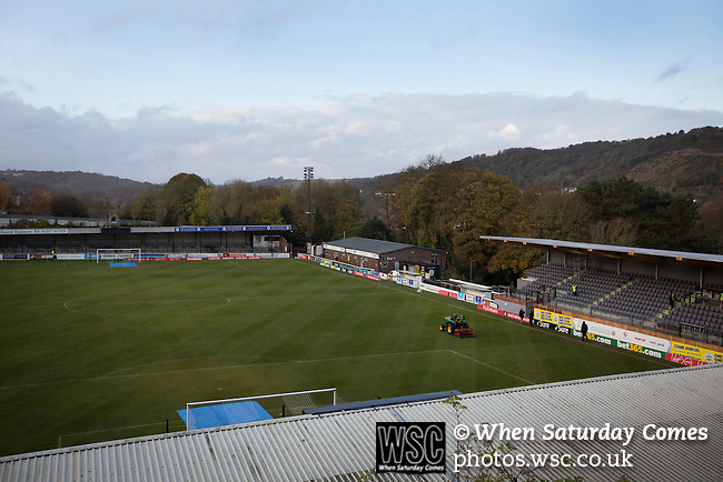 Dover Athletic 2 Cambridge United 4, 17/11/2016. The Crabble, FA Cup first round replay. A groundsman mowing the pitch at the Crabble, pictured before National League Dover Athletic hosted League 2 Cambridge United in an FA Cup first round replay. The club was founded in 1983 after the dissolution of the town's previous club Dover FC, whose place in the Southern League was taken by the new club. Cambridge United won the tie by 4-2 after extra time, watched by a crowd of 1158. Photo by Colin McPherson.