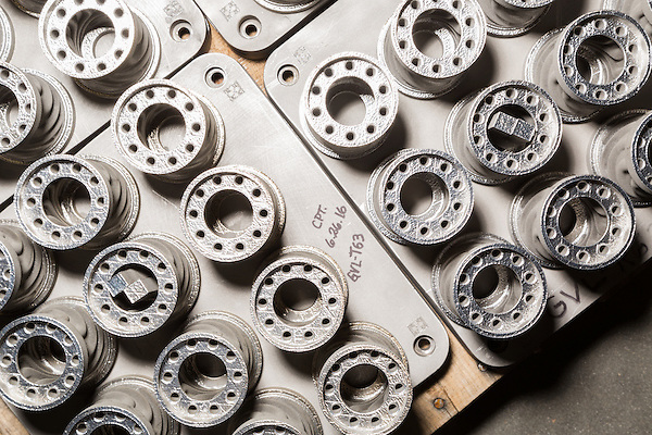 July 6, 2016. Greenville, South Carolina. <br />  In the Advanced Manufacturing Works building, the flex tips of fuel nozzles await final machining. The tips are manufactured using additive manufacturing techniques, or 3D printing, allowing a very fast turn around and high standards for part tolerance. <br />  At the General Electric Gas Turbine factory, engineers  design, produce, test and repair gas turbines for generating electricity. These turbines weigh more than 900,000 pounds and can create internal combustion temperatures up to 2,900 degrees F. Depending on the model, one of the GE turbines can produce enough electricity for half a million American households.