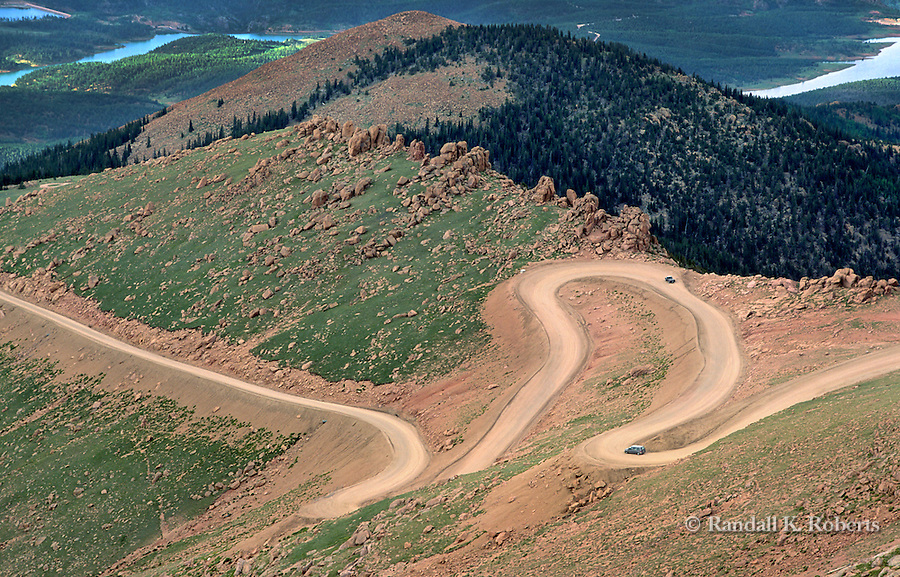 Curvy Pikes Peak highway winds its way to the top, near Colorado Springs, Colorado