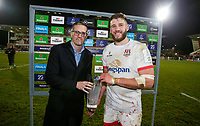 Saturday 7th December 2019 | Ulster Rugby vs Harlequins<br /> <br /> Stuart McCloskey Man Of The Match during the Heineken Champions Cup Round 3 clash in Pool 3, between Ulster Rugby and Harlequins at Kingspan Stadium, Ravenhill Park, Belfast, Northern Ireland. Photo by John Dickson / DICKSONDIGITAL