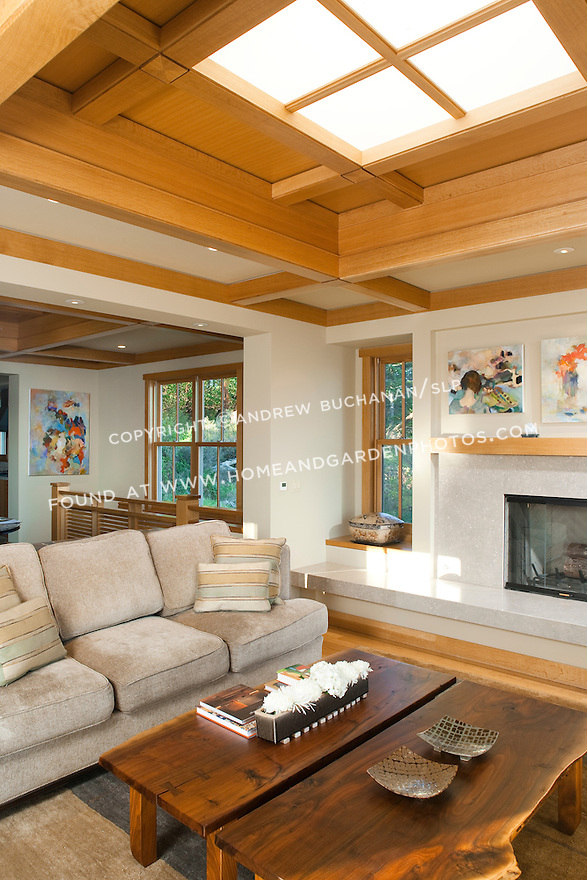 A skylight brings light into the living room of a Pacific Northwest home. this image is available through an alternate architectural stock image agency, Collinstock located here: http://www.collinstock.com
