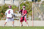 Los Angeles, CA 03/16/10 - Austin Raab (Chico State # 9) and Chase Parlett (LMU # 6) in action during the Chico State-Loyola Marymount University MCLA interdivisional game at Leavey Field (LMU).  LMU defeated Chico State 7-4.