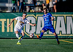 26 October 2019: University of Vermont Catamount Midfielder Frosti Brynjólfsson, a Freshman from Akureyri, Iceland, battles University of Massachusetts Lowell River Hawk Backfielder Denis Petro, a Freshman from Michalovce, Slovakia, in second half action at Virtue Field in Burlington, Vermont. The Catamounts rallied to defeat the River Hawks 2-1, propelling the Cats to the America East Division 1 conference playoffs. Mandatory Credit: Ed Wolfstein Photo *** RAW (NEF) Image File Available ***