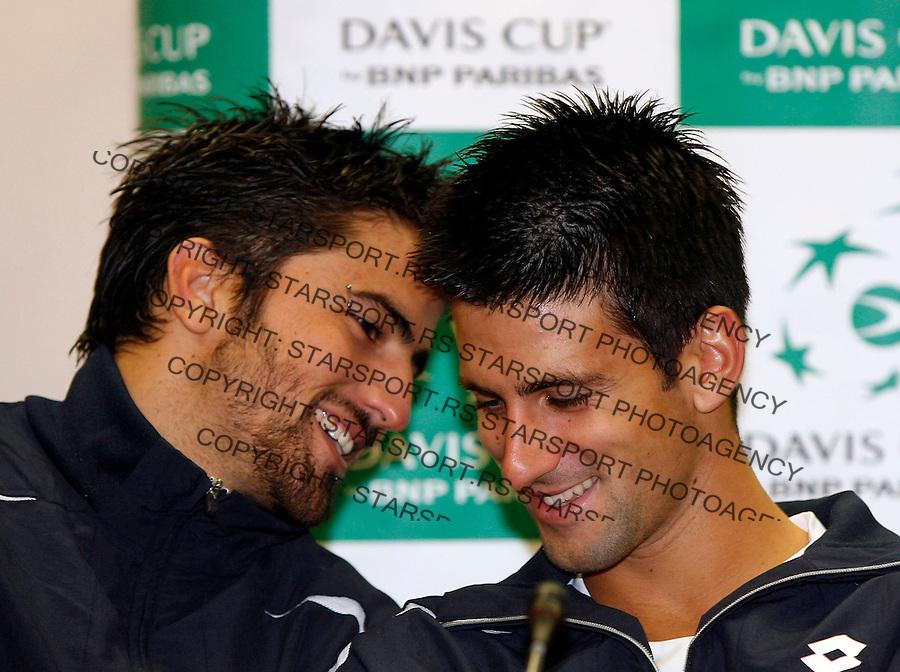 Tenis, Davis Cup, konferencija za stampu.Serbia Vs. Australia.Janko Tipsarevic, left and Novak Djokovic.Belgrade, 16.09.2007..foto: Srdjan Stevanovic.