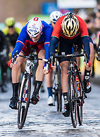 Picture by Alex Broadway/SWpix.com - 04/03/2018 - Cycling - 2018 Paris Nice - Stage One - Chatou to Meudon  - Arnaud Demare of Groupama FDJ beats Gorka Izagirre of Bahrain Merida on the line to win the stage.<br /> <br /> NOTE : FOR EDITORIAL USE ONLY. THIS IS A COPYRIGHT PICTURE OF ASO. A MANDATORY CREDIT IS REQUIRED WHEN USED WITH NO EXCEPTIONS to ASO/Alex Broadway MANDATORY CREDIT/BYLINE : ALEX BROADWAY/ASO