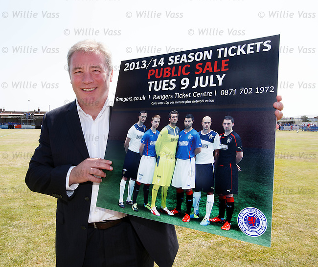 Ally McCoist in Brora promoting the public sale of Season Tickets for Rangers next week