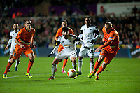 Thursday 28 November  2013  Pictured: Alejandro Pozuelo tries to break the Valencia defence<br /> Re:UEFA Europa League, Swansea City FC vs Valencia CF  at the Liberty Staduim Swansea