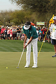 January 31st 2019, Scotsdale, Arizona, USA; Bubba Watson putts on the 9th green during the first round of the Waste Management Phoenix Open