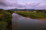 Photo shows the Nagakigawa River which passes through Odate City, Akita Prefecture Japan.  Photographer: Rob Gilhooly