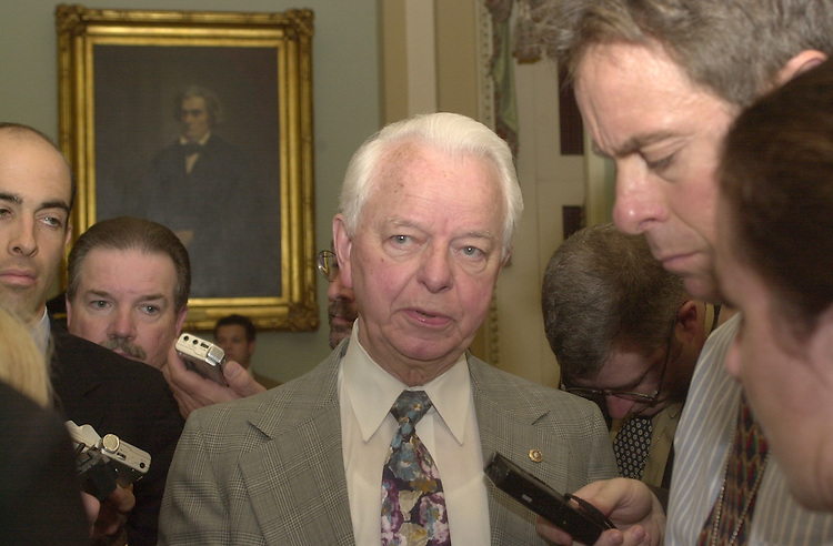 1ohioclock102301 -- Senator Robert C. Byrd (D-WV) fields questions after lunch on Tuesday.