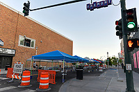 Las Vegas NV - May 21:  The City of Las Vegas close certain streets downtown to support outdoor dining areas in Las Vegas, Nevada on May 21, 2020. Credit: Damairs Carter/MediaPunch