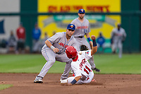 Amarillo Sod Poodles Hudson Potts (10) covers second base as Irving Lopez (11) slides in during a Texas League game against the Springfield Cardinals on April 25, 2019 at Hammons Field in Springfield, Missouri. Springfield defeated Amarillo 8-0. (Zachary Lucy/Four Seam Images)