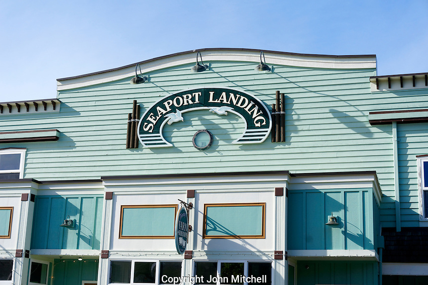 Seaport landing building in La Conner, Washington state, USA