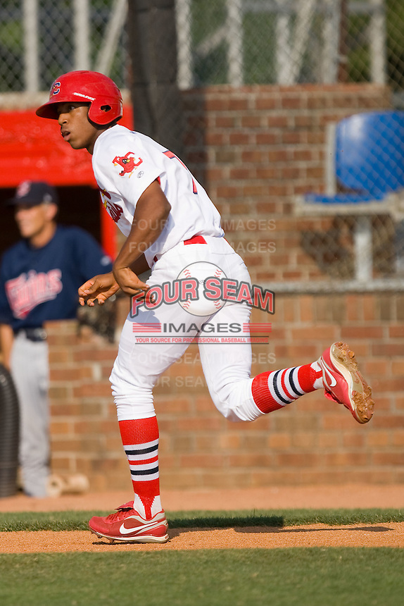 Oscar Taveras #7 of the Johnson City Cardinals hustles down the first base line against the Elizabethton Twins at Howard Johnson Field July 3, 2010, in Johnson City, Tennessee.  Photo by Brian Westerholt / Four Seam Images