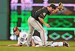 18 May 2012: Washington Nationals outfielder Bryce Harper is caught stealing in the bottom of the 4th inning on a tag by J. J. Hardy during game action against the Baltimore Orioles at Nationals Park in Washington, DC. The Orioles defeated the Nationals 2-1 in the first game of their 3-game series. Mandatory Credit: Ed Wolfstein Photo