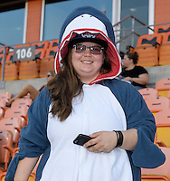 Houston, TX - Saturday Sept. 03, 2016: Fan prior to a regular season National Women's Soccer League (NWSL) match between the Houston Dash and the Orlando Pride at BBVA Compass Stadium.