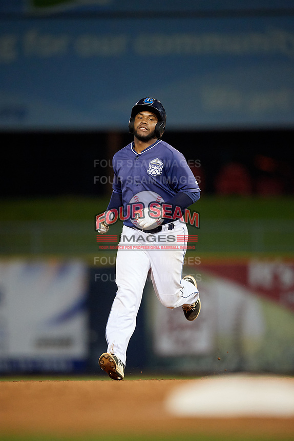 Lake County Captains designated hitter Jose Vicente (15) rounds the bases after hitting a home run in the bottom of the second inning during the second game of a doubleheader against the South Bend Cubs on May 16, 2018 at Classic Park in Eastlake, Ohio.  Lake County defeated South Bend 5-2.  (Mike Janes/Four Seam Images)