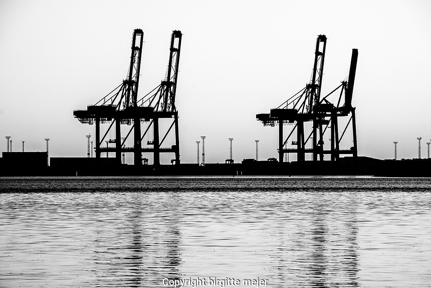 cranes at the harbor in aarhus jutland, denmark.