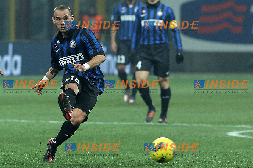 "Wesley Sneijder Inter..Milano 22/01/2012 Stadio ""S.Siro""..Football / Calcio Serie A 2011/2012..Inter vs Lazio 2-1..Foto Insidefoto Paolo Nucci"