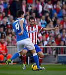 MADRID, ESPAÑA . FUTBOL <br /> Partido de la liga BBVA entre el At.Madrid vs Ath BIlbao . 3/11/2013<br /> Atletico Madrid's forward Adrian Lopez , Aymeric Laporte<br /> PHOTOCALL3000/ Dani Pozo