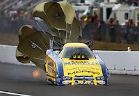 Aug. 3, 2013; Kent, WA, USA: NHRA funny car driver Matt Hagan during qualifying for the Northwest Nationals at Pacific Raceways. Mandatory Credit: Mark J. Rebilas-USA TODAY Sports