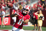 Wisconsin Badgers wide receiver Jazz Peavy (11) catches a pass during warmups prior to an NCAA College Football game against the Florida Atlantic Owls Saturday, September 9, 2017, in Madison, Wis. The Badgers won 31-14. (Photo by David Stluka)