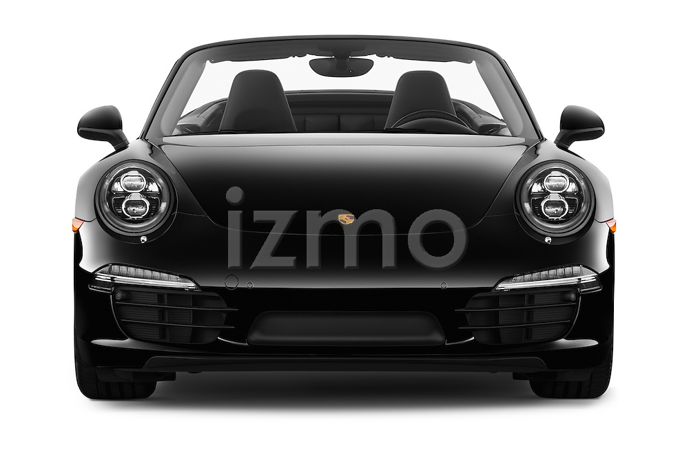 Car photography straight front view of a 2016 Porsche 911 Black Edition 2 Door convertible Front View