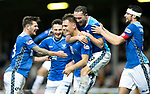 Motherwell v St Johnstone&hellip;20.10.18&hellip;   Fir Park    SPFL<br />Jason Kerr celebrates with Matty Kennedy, Scott Tanser, Chris Kane and Joe Shaughnessy after scoring the winning goal<br />Picture by Graeme Hart. <br />Copyright Perthshire Picture Agency<br />Tel: 01738 623350  Mobile: 07990 594431