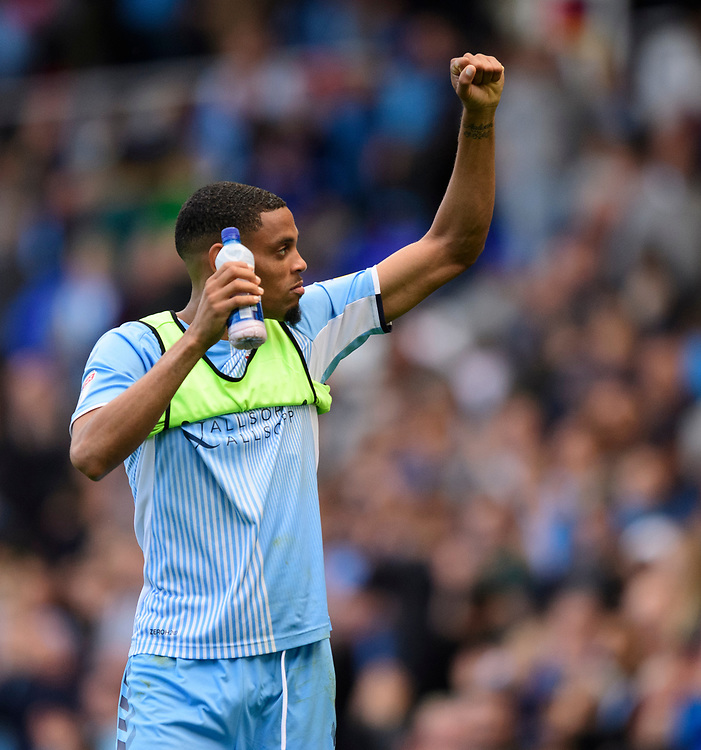 Coventry City's Wesley Jobello celebrates at the end of the game<br /> <br /> Photographer Chris Vaughan/CameraSport<br /> <br /> The EFL Sky Bet League One - Coventry City v Blackpool - Saturday 7th September 2019 - St Andrew's - Birmingham<br /> <br /> World Copyright © 2019 CameraSport. All rights reserved. 43 Linden Ave. Countesthorpe. Leicester. England. LE8 5PG - Tel: +44 (0) 116 277 4147 - admin@camerasport.com - www.camerasport.com