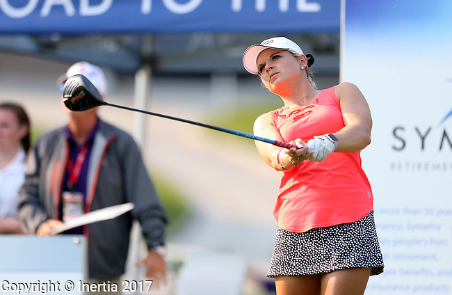 SIOUX FALLS, SD - SEPTEMBER 3: Lindsey Weaver watches her tee shot on the first hole during the final round of the 2017 Great Life Challenge Symetra Tour stop at Willow Run in Sioux Falls.  (Photo by Dave Eggen/Inertia)