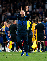 Frank Lampard manager of Chelsea applauds the fans during the Premier League match between Chelsea and Liverpool at Stamford Bridge, London, England on 22 September 2019. Photo by Liam McAvoy / PRiME Media Images.