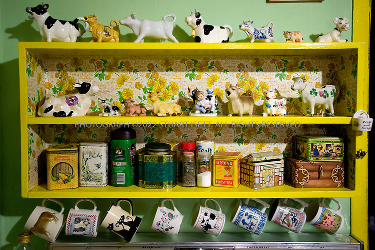 12/12/2008--Seattle, WA, USA..Cups and cows that belonged to Edith Macefield (born in 1921 in Oregon. Died June 15, 2008 Seattle, Washington) in the kitchen table of her small home in Seattle, WASH . Macefield achieved worldwide fame in 2006 when she refused US$1 million offered to her by developers to sell her home (shown here) to make way for a commercial development in the Ballard neighborhood of Seattle. Instead, the five-story project was built around her 108-year-old farmhouse, where she passed away at age 86...Barry Martin, senior superintendent for Ledcor Construction, who are building the project around the house, befriended Macefield and in her last year visited regularly to cook meals and shop. With no surviving family, Macefield willed the house to Martin when she died on June 15th, 2008. Martin has not touch anything in the house, leaving everything exactly as it was the day Macefield died...©2008 Stuart Isett. All rights reserved.