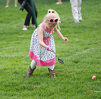 Washington DC, April 17, 2017, USA: A little girl takes part in the annual Easter egg roll. President Donald J Trump and First Lady Melania Trump welcome visitors to the South Lawn of the White House for the 139th Annual Easter Egg roll and event in Washington DC. <br /> CAP/MPI/LYN<br /> &copy;LYN/MPI/Capital Pictures