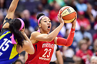 Washington, DC - August 12, 2018: Washington Mystics forward Aerial Powers (23) looks to pass the ball during game between the Washington Mystics and the Dallas Wings at the Capital One Arena in Washington, DC. (Photo by Phil Peters/Media Images International)