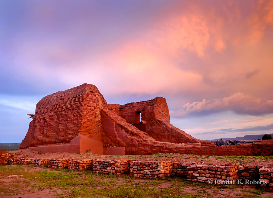 Sunset on mission ruins, Pecos National Historical Park, north east of Santa Fe, New Mexico. Full name of the church ruin is Mission Nuestra Señora de los Ángeles de Porciúncula de los Pecos.