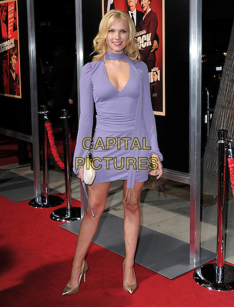 "Claudia Lee .""Hitchcock"" Los Angeles Premiere held at the AMPAS Samuel Goldwyn Theater, Beverly Hills, California, USA.  .November 20th, 2012.full length purple dress scarf white clutch bag gold shoes .CAP/RKE/DVS.©DVS/RockinExposures/Capital Pictures."