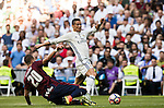 Cristiano Ronaldo of Real Madrid fights for the ball with Lejeune of SD Eibar during their La Liga match between Real Madrid CF and SD Eibar at the Santiago Bernabéu Stadium on 02 October 2016 in Madrid, Spain. Photo by Diego Gonzalez Souto / Power Sport Images